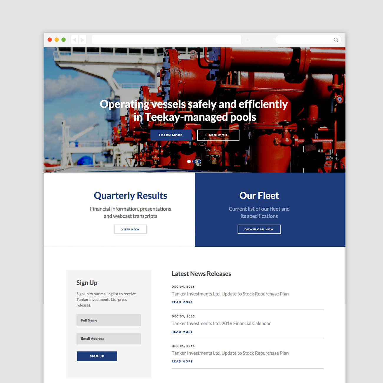 Tanker Investments Website Promo Standard Desktop