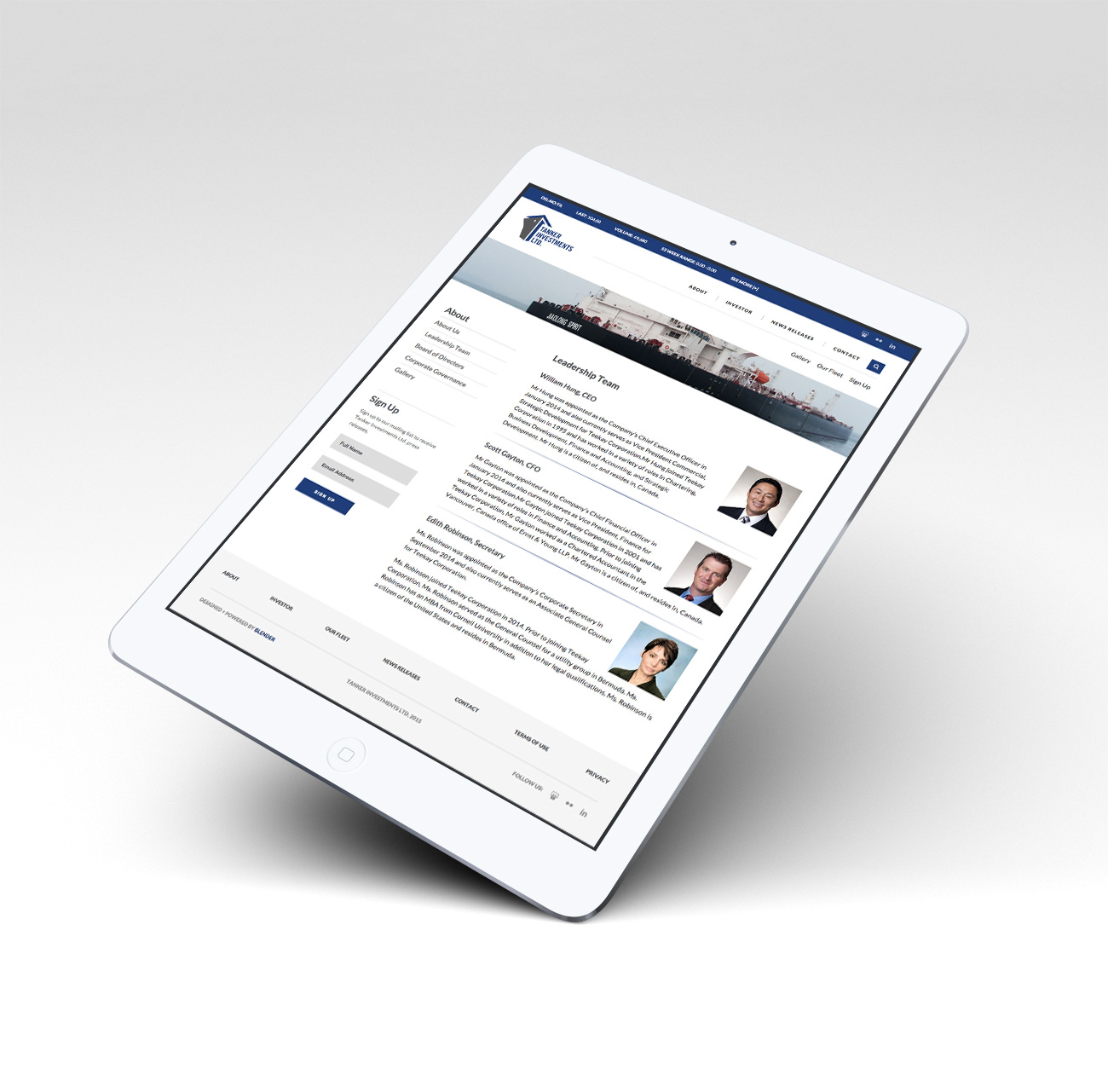 Tanker Investments Website Promo on iPad Air