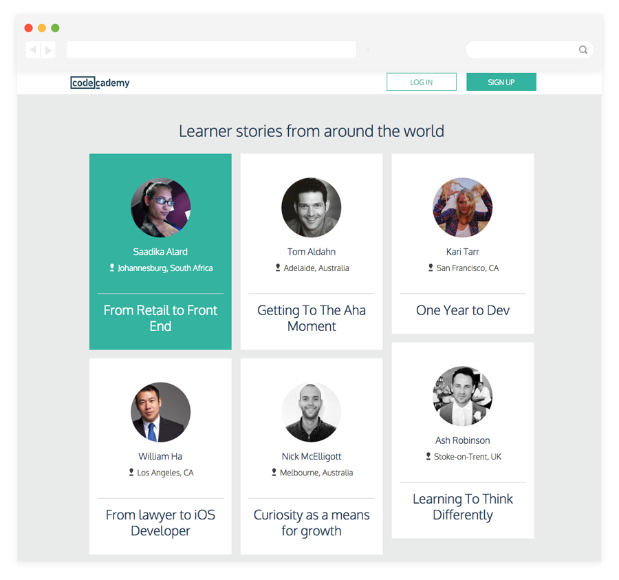 Codecademy learners from around the world