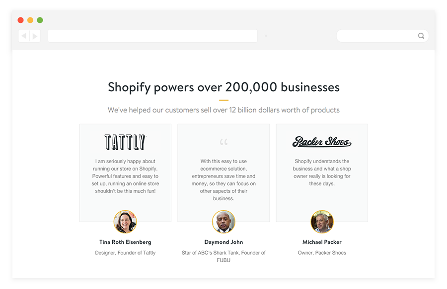 Shopify customer testimonials