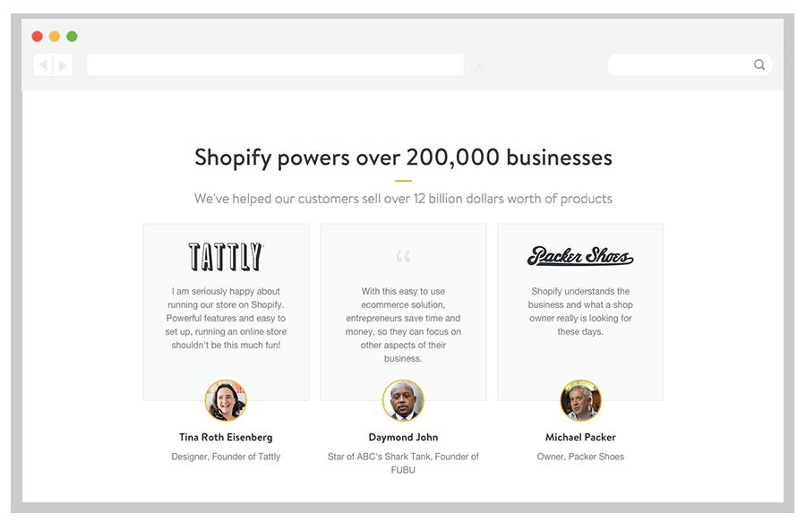Shopify customer testimonials