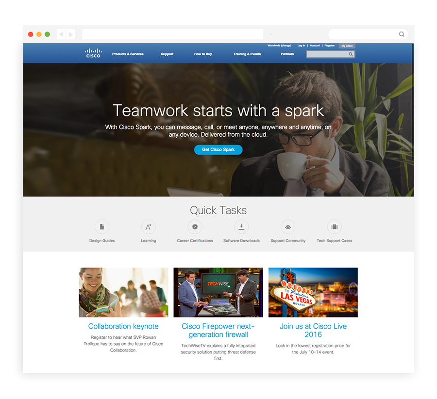 best public company homepage designs Cisco