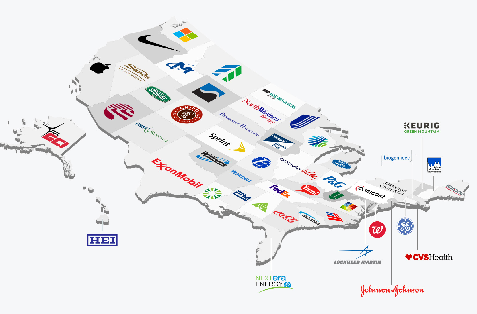 Biggest public company in each U.S. state infographic